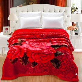 Noble Fiery Red Peony Print Raschel Blanket