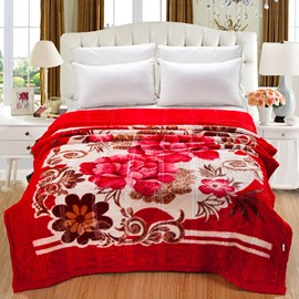 Vintage Sweet Blooming Red Peony Print Raschel Blanket