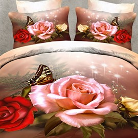 Elegant Roses and Butterfly Print 3D Fitted Sheet