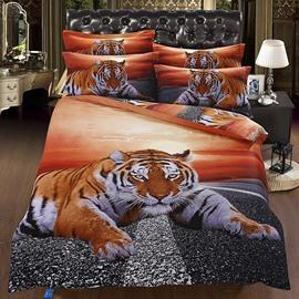 Powerful 3D Lying Tiger under Twilight Flat Sheet
