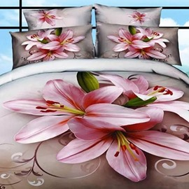 Graceful Pink Lilies Print Cotton 2-Piece Pillow Cases