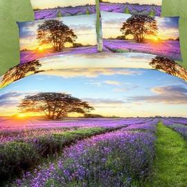 Romantic Lavender with Sunset Scene Cotton 2-Piece Pillow Cases