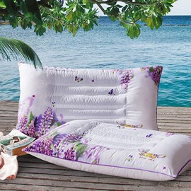 Romantic Elegant Lavender Print Polyester 2-Piece Pillows