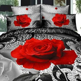 Charming Red Rose Print Cotton 2-Piece Pillow Cases