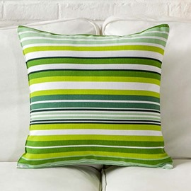 Fresh Style Green and White Stripes Throw Pillow Case