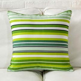 Fresh Style Green and White Stripes Throw Pillow Case
