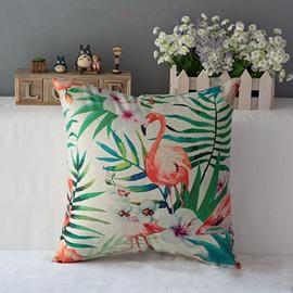 Marvelous Flamingo and Phalaenopsis Print Throw Pillow
