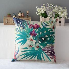Beautiful Phalaenopsis and Leaves Print Throw Pillow