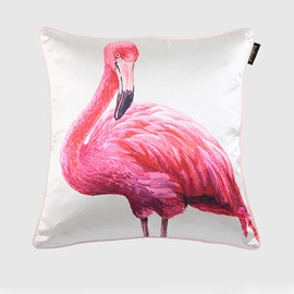 Elegant Red Flamingo Print Silk-like Throw Pillow Case