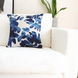 Unique Ethnic Tie-dyed Indigo Leaves Throw Pillow
