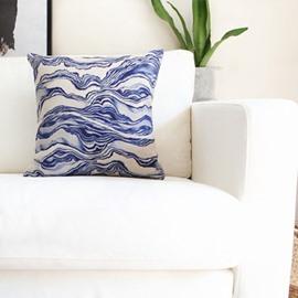 Personality Style Indigo Water Ripple Print Throw Pillow