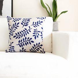 Elegant Indigo Vintage Leaves Decorative Throw Pillow