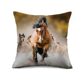 Brown Horse Reactive Printing Throw Pillow Case
