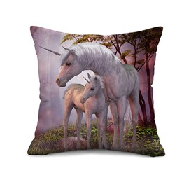 Heart-warming White Unicorns Print Throw Pillow Case