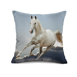 3D White Horse Reactive Printing Throw Pillow Case