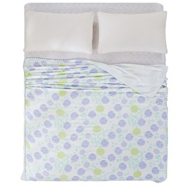 Intelligent Design Purple and Green Polka Dot Print Quilt