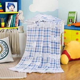 Elegant Yarn Stereo Cloud Blue Plaid Cotton Towel Quilt