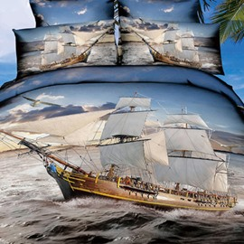 Ship Sailing on the Sea Print 3D Fitted Sheet