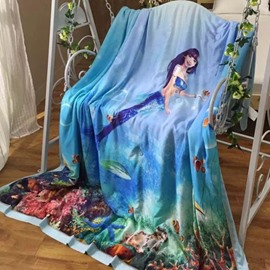 Stylish Mysterious Mermaid Print Blue Tencel Quilt