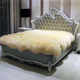 Solid-colored Noble Long Wool Sheepskin Beige Blanket