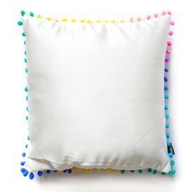 Anti-Bacterial White and Colorful Plush-balls Pillow with PP Cotton Inside Satin Throw Pillow