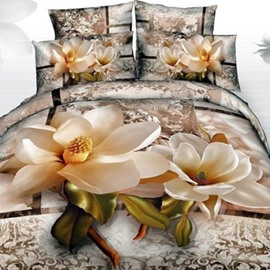 Elegant Vivid Magnolia 3D Printed Cotton Fitted Sheet
