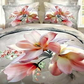 Lifelike Pink Magnolia 3D Printed Cotton Fitted Sheet