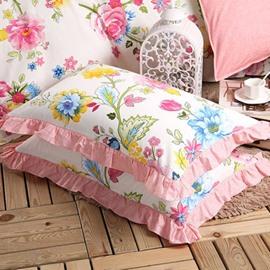 Splendid Red Peony Print Cotton 2-Piece Pillow Cases