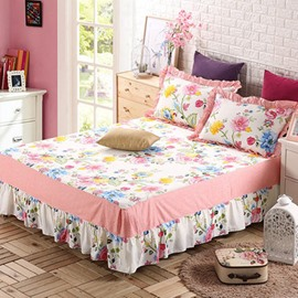 Romantic Red Peony Print Cotton Bed Skirt
