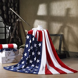Patriotic American Flag Stars and Stripes Soft Flannel Blanket