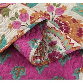 Paisley Floral Prints Boho Chic Patchwork Cotton 3-Piece King Size Bed in a Bag