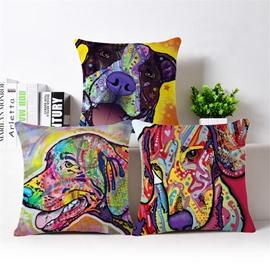 Unique Colorful Dog Print Cotton Throw Pillow Case