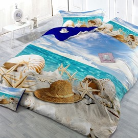 Holiday Beach Digital Print Cotton 2-Piece Pillow Cases