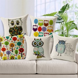 Modern Style Lovely Owl Print Throw Pillow Case