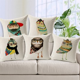 Special Design Cartoon Owl Print Throw Pillow Case