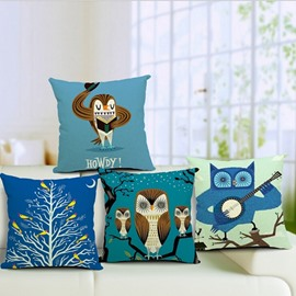 Delicate Color Cartoon Owl Print Throw Pillow Case