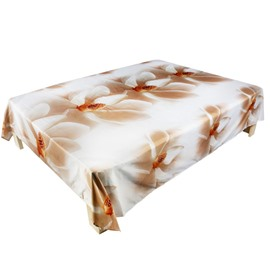 Elegant White Magnolia Print Cotton Flat Sheet