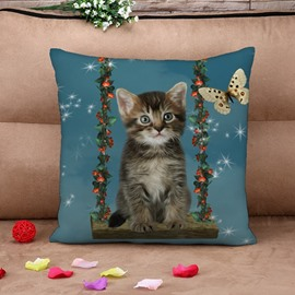 Lovely Cat and Butterfly Print Throw Pillow Case