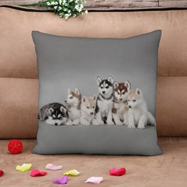 Husky Puppies Printed 4-Piece 3D Throw Pillow Case