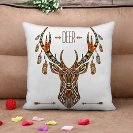 Ethnic Deer Design Square Throw Pillow Case