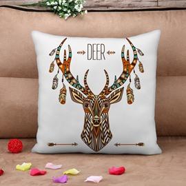 Ethnic Deer Design Square Throw Pillow Case