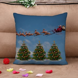 Santa and Colorful Christmas Tree Print Throw Pillow Case