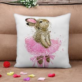 Adorable Rabbit with Pink Dress Print Throw Pillow Case