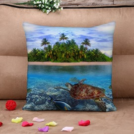 Beautiful Turtle and Isle 3D Printed Throw Pillow Case