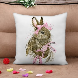 Lovely Rabbit Print Square Throw Pillow Case