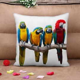 Vivid Colorful Parrot Print Throw Pillow Case