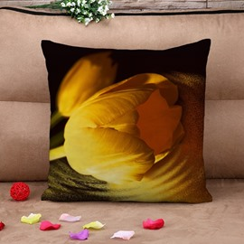 Blooming Yellow Tulip Print Throw Pillow Case