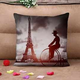 Big Wheel Bicycles and Eiffel Tower Print Throw Pillow Case