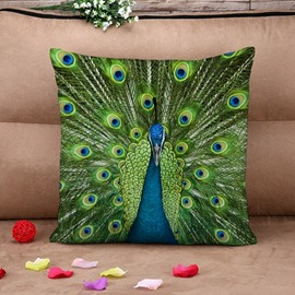 Amazing Green Peacock Print Square Throw Pillow Case