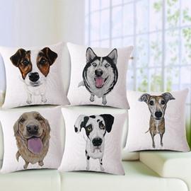 Attractive Puppy Print Cotton Throw Pillow Case